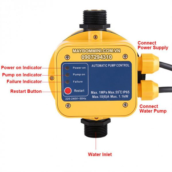 Automatic Water Pump Pressure Controller Electronic Pressure Switch Gauge Home Accessory