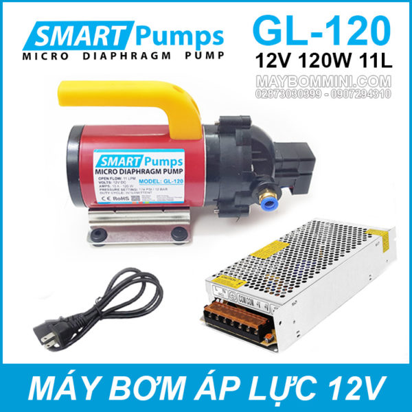 May Bom Ap Luc Mini Smarpumps 12V 120W GL120 Kem Nguon